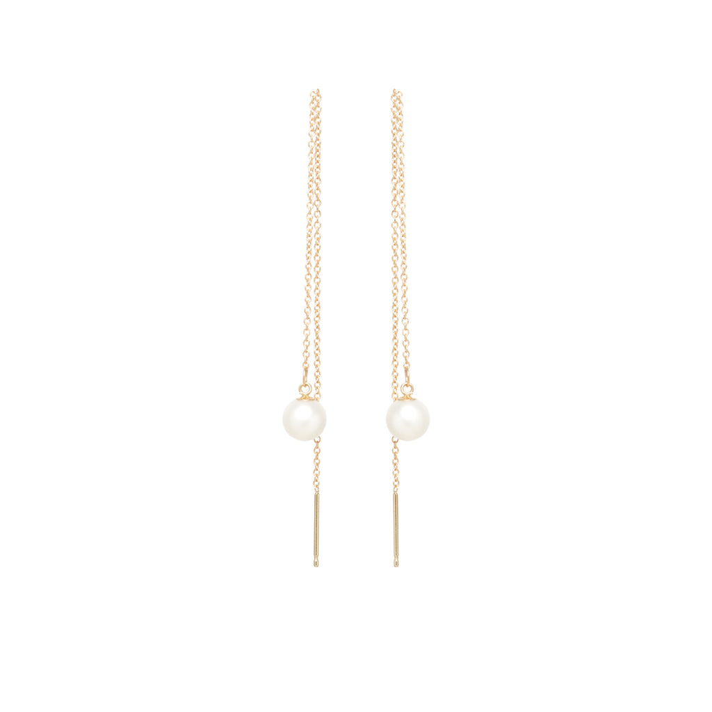 Zoë Chicco 14kt Yellow Gold Cable Chain Threader Earrings with Pearls