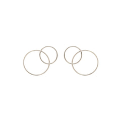14k medium mixed interlocked circle studs