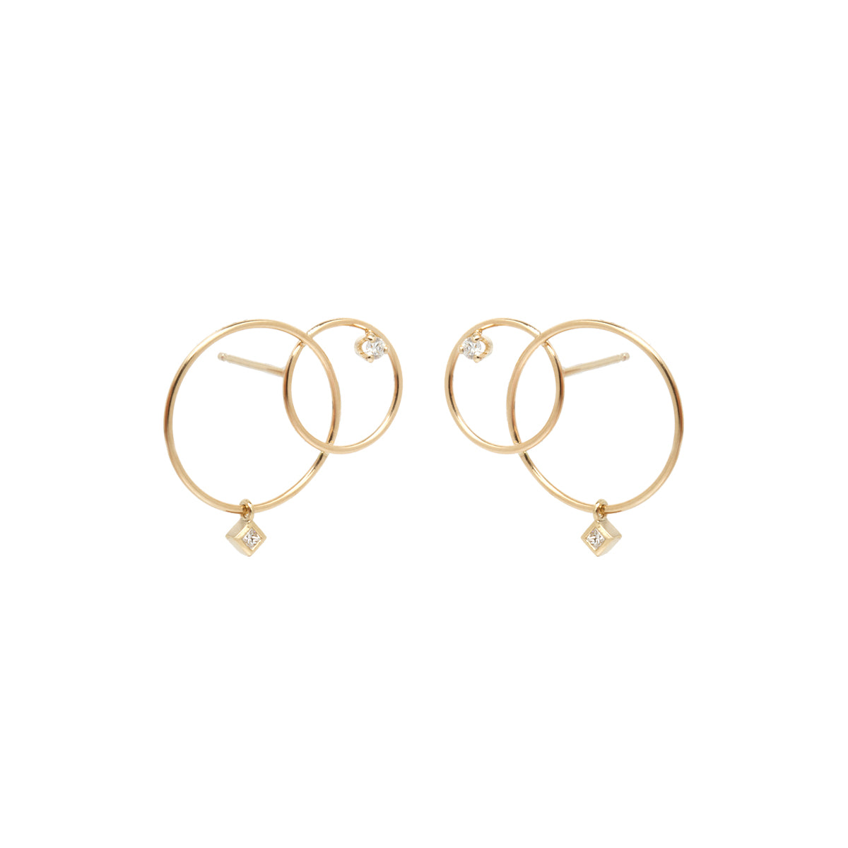 14k mixed interlocked circle studs with mixed diamonds