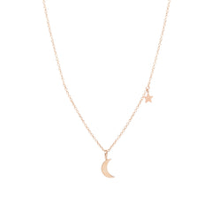 14k gold midi bitty crescent moon charm necklace