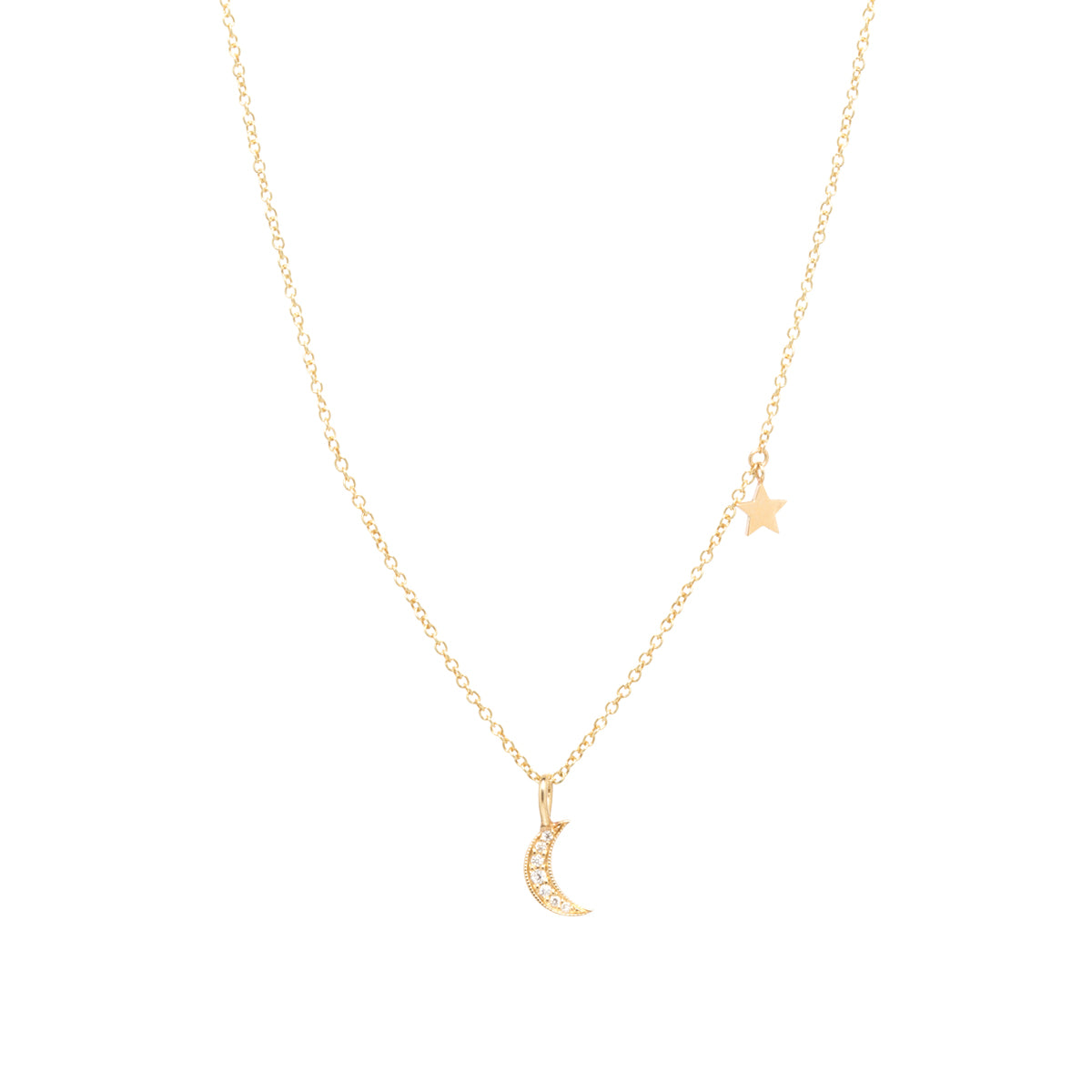 14k gold pave midi bitty crescent moon charm necklace