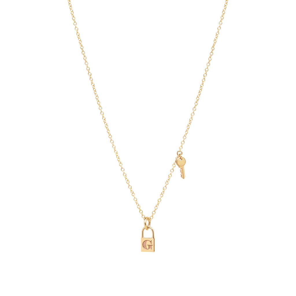 14k gold lock and key initial charm necklace