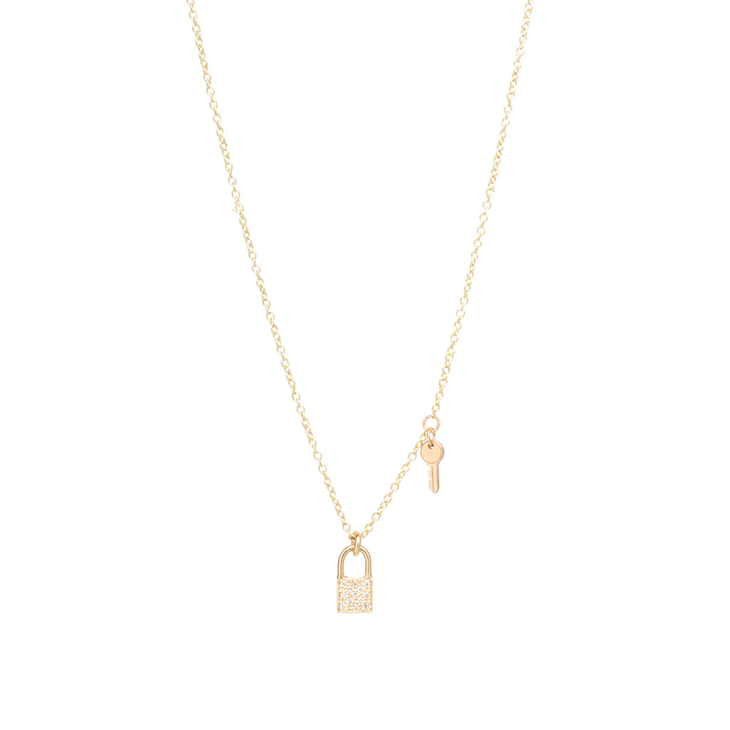 14k gold midi bitty lock and key charm necklace