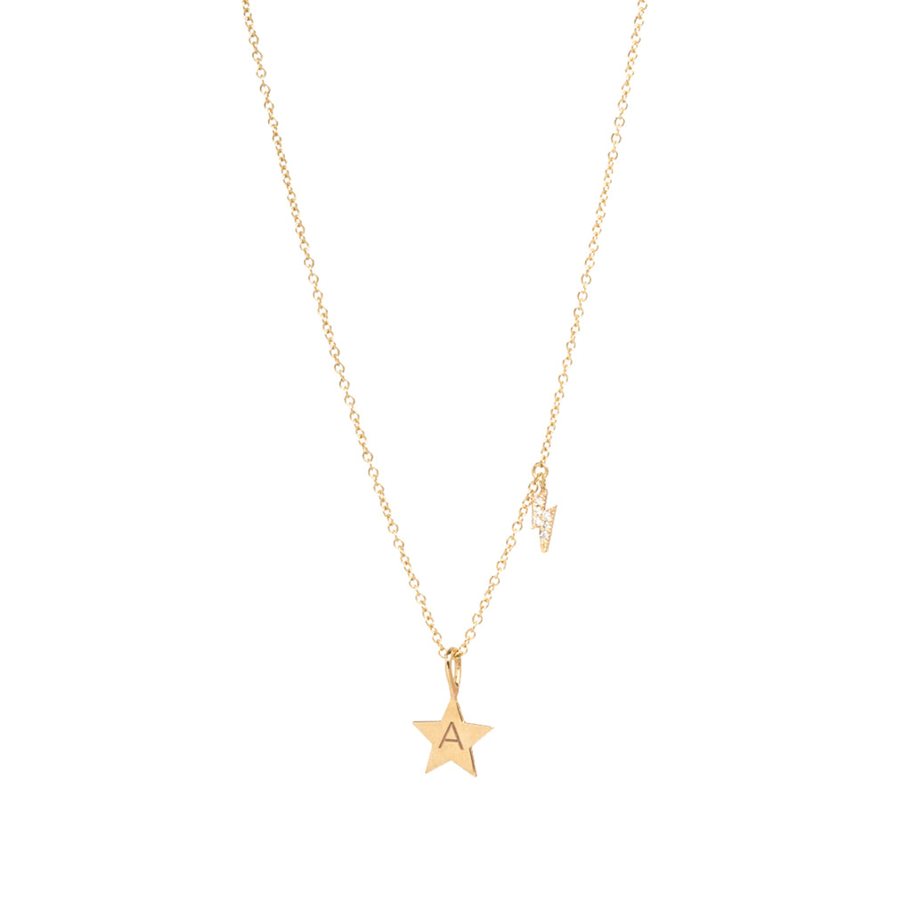 14k gold star with initial and pave lighting bolt charm necklace