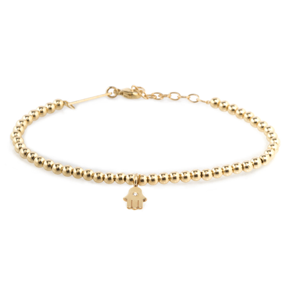 14k small gold bead and midi bitty diamond hamsa bracelet
