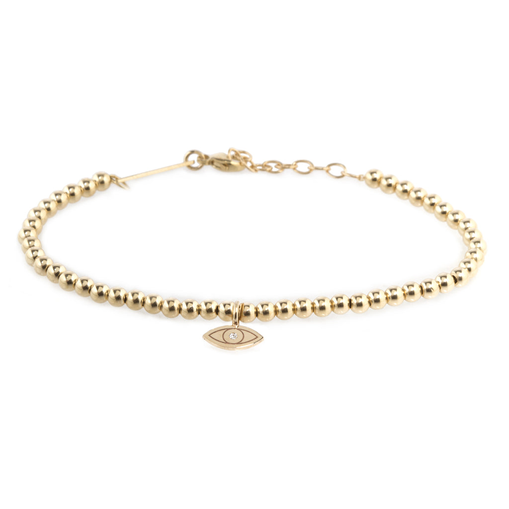 14k small gold bead and midi bitty diamond evil eye bracelet
