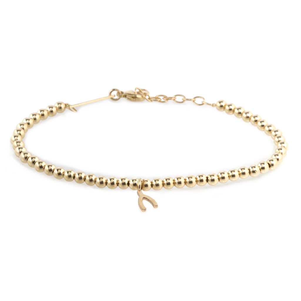14k small gold bead and midi bitty wishbone bracelet