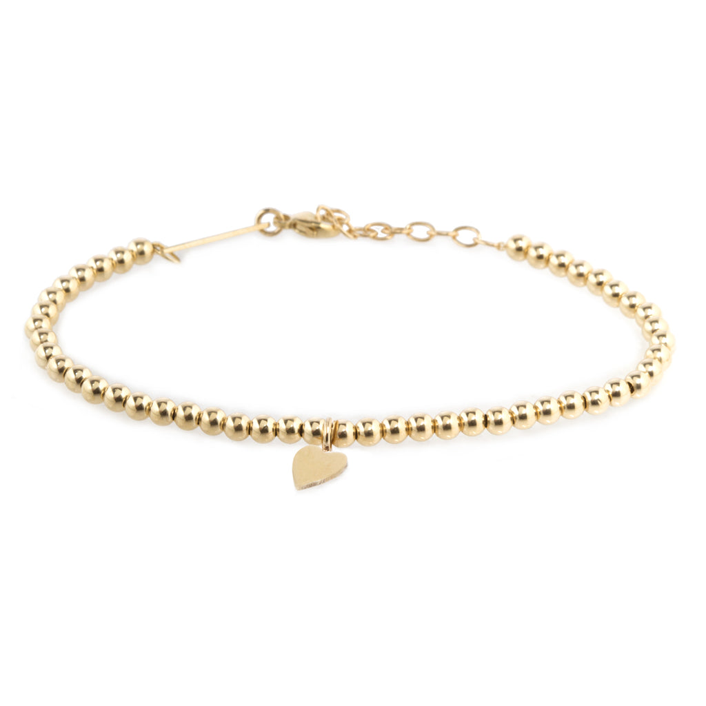 14k small gold bead and midi bitty heart bracelet