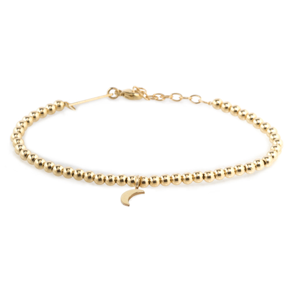 14k small gold bead and midi bitty moon bracelet