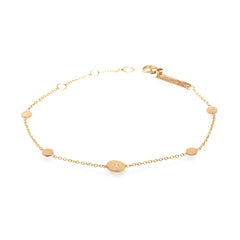 14k single diamond mixed round disc bracelet