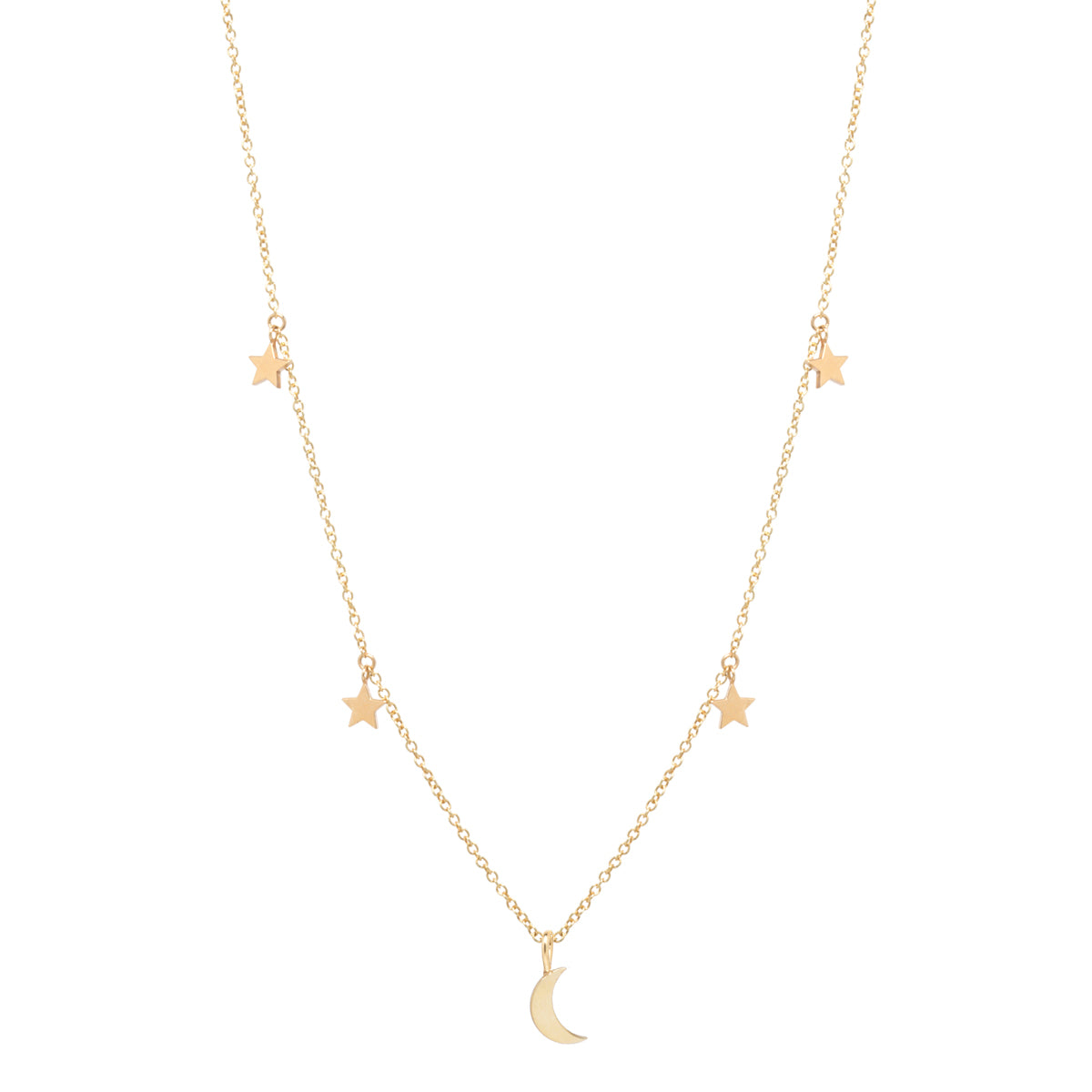 14k midi bitty crescent moon and 4 itty bitty stars necklace