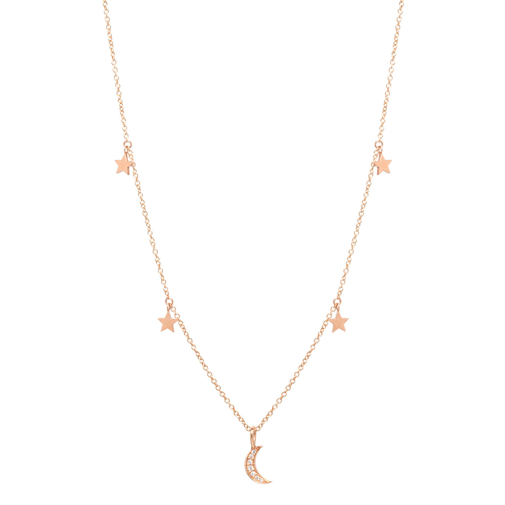 14k midi bitty pave moon and star necklace
