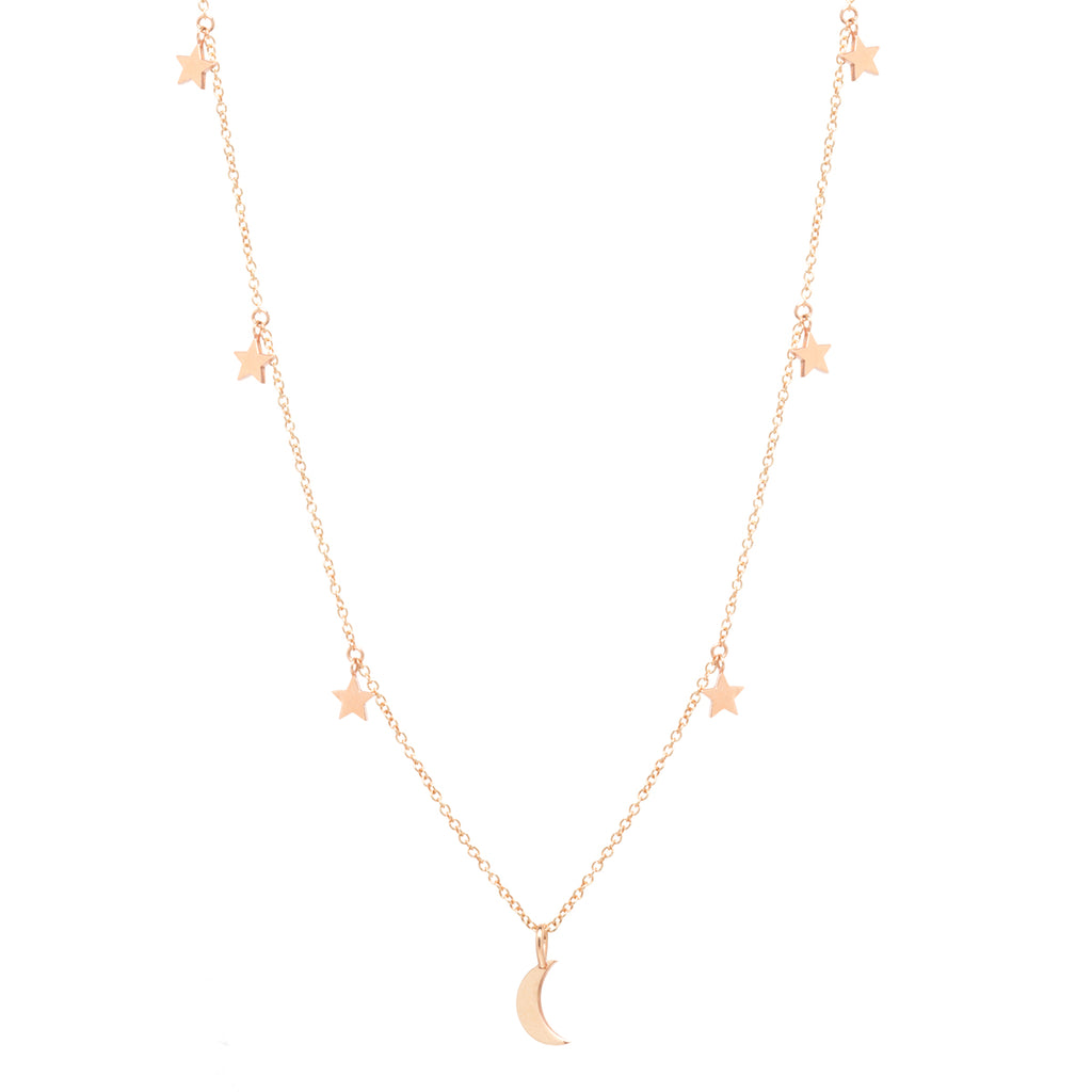 14k midi bitty crescent moon and stars charm necklace