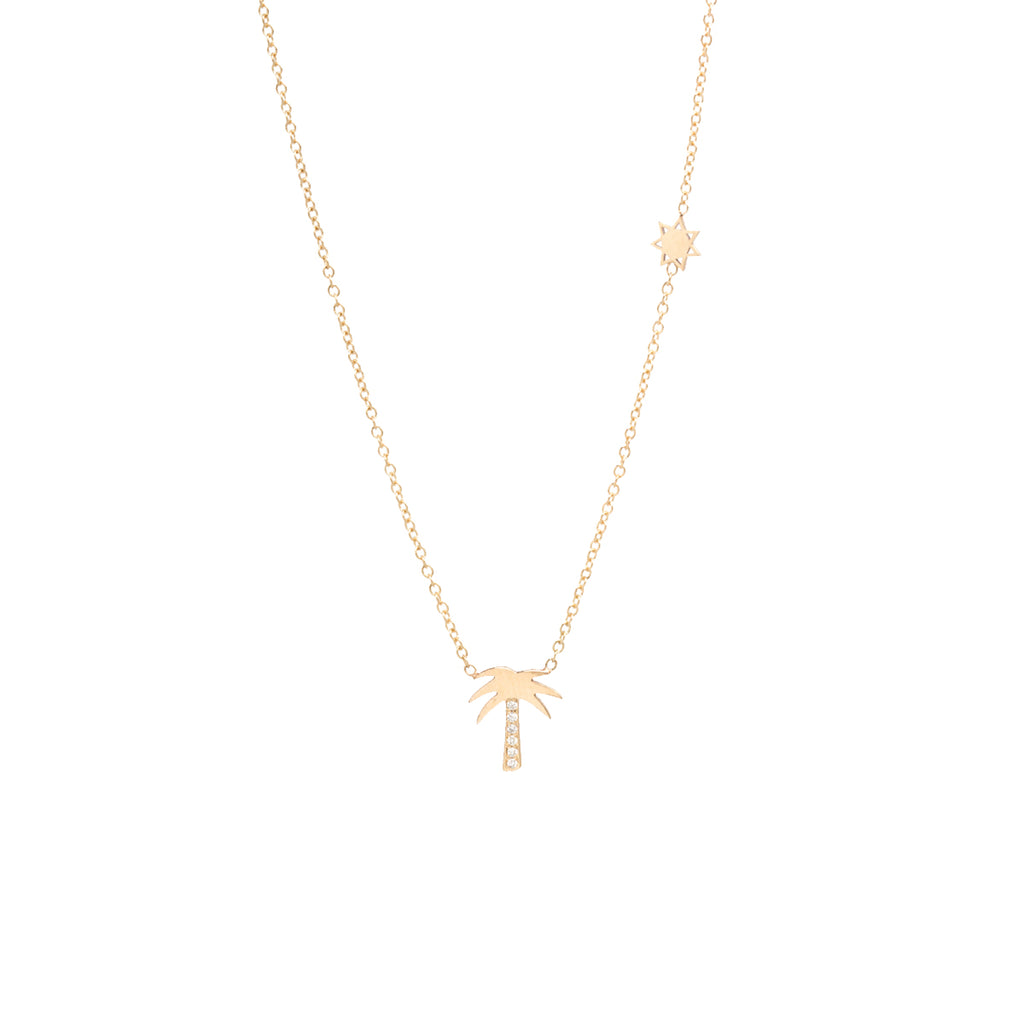 14k midi bitty pave palm tree necklace with itty bitty sun