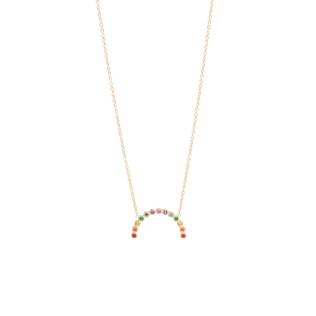 14k medium rainbow sapphire arc necklace