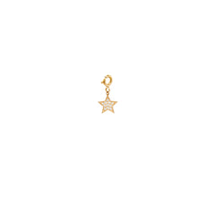 14k single midi bitty pave diamond star charm pendant