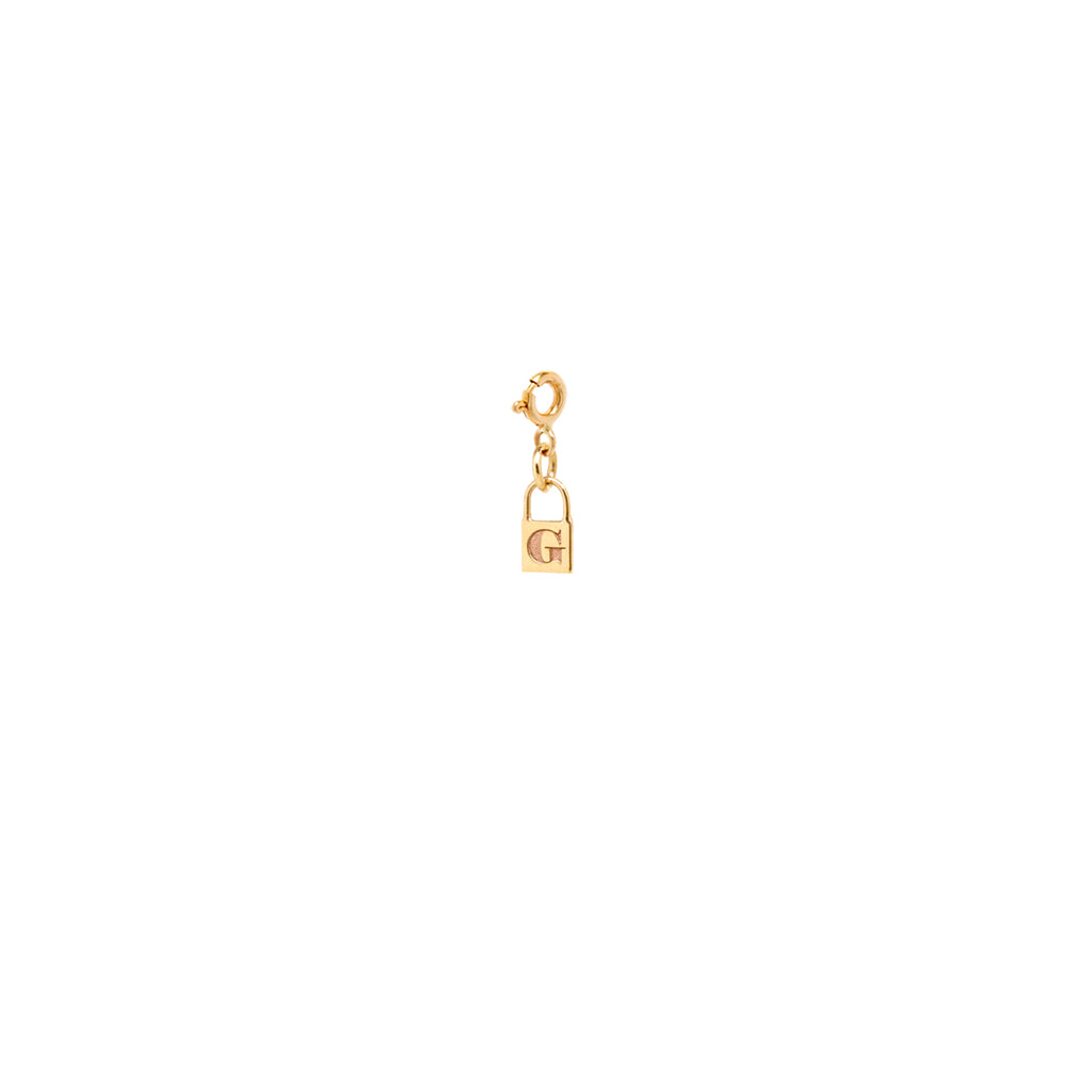 14k midi bitty initial padlock charm pendant with spring ring