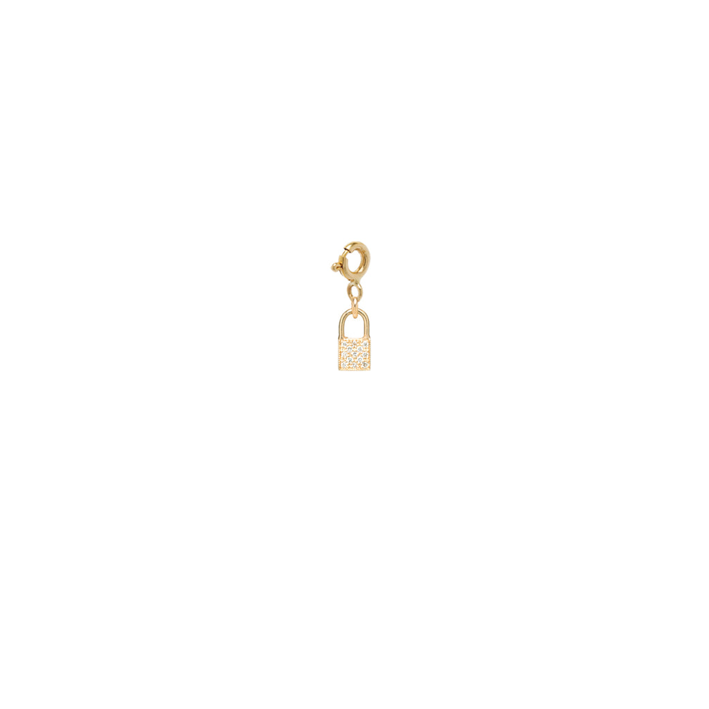 14k midi bitty pave diamond padlock charm pendant with spring ring