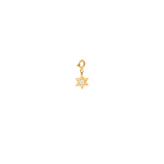 14k midi bitty pave Star of David charm with spring ring