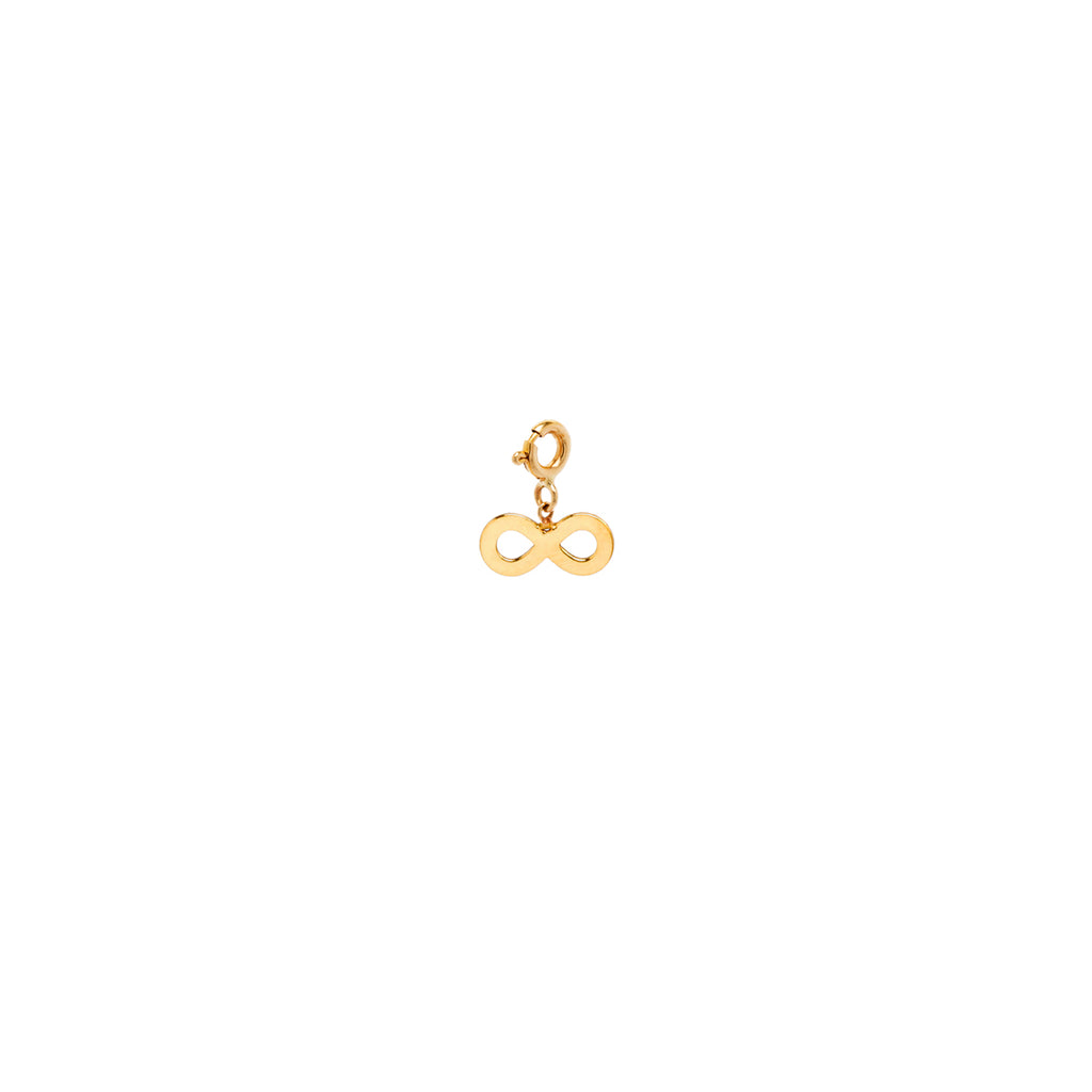 14k midi bitty infinity charm with spring ring