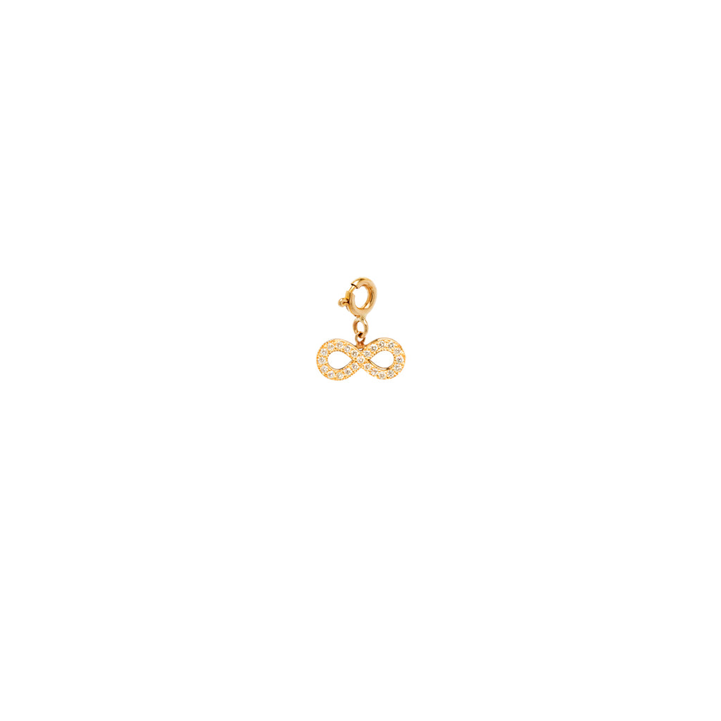 14k midi bitty pave infinity charm with spring ring