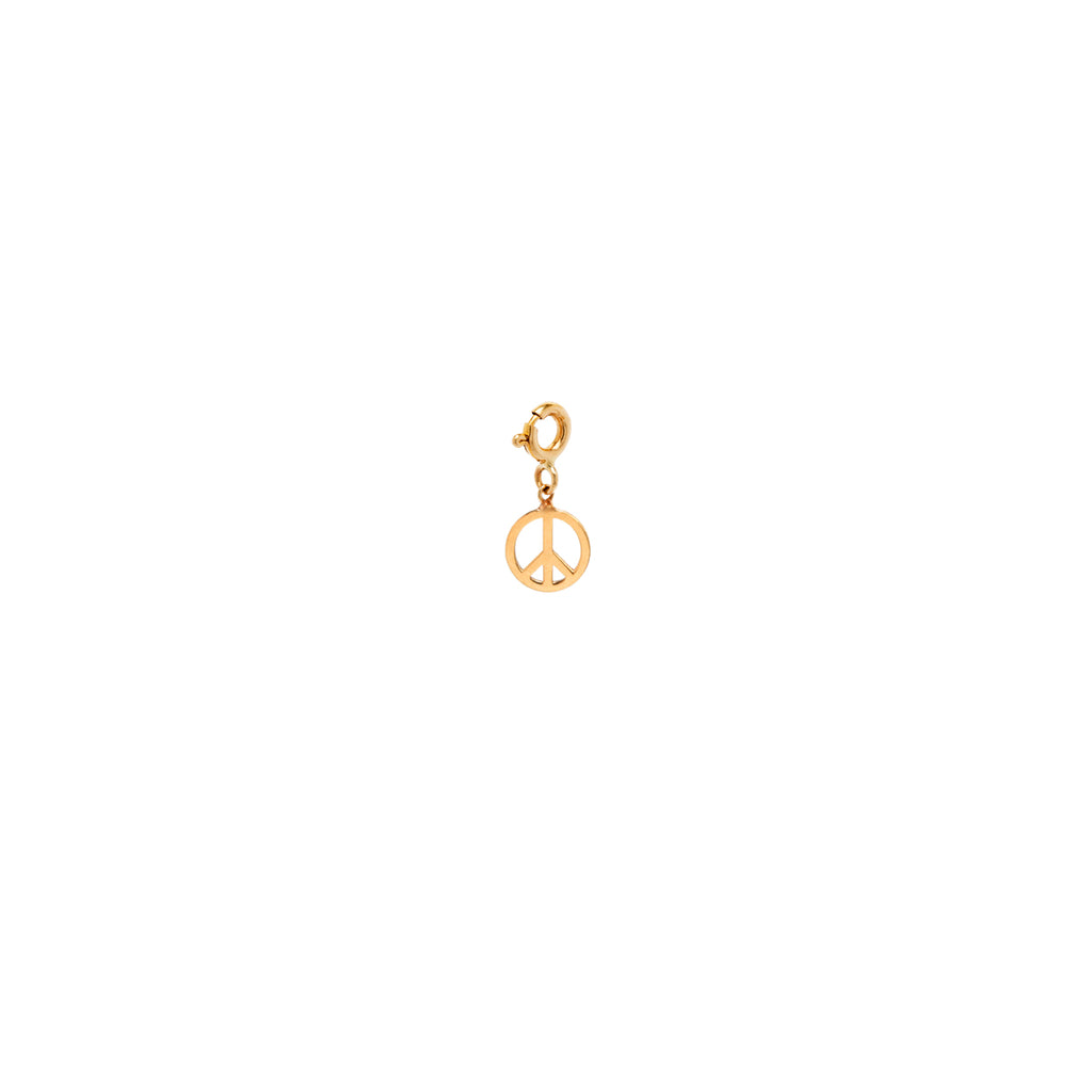 14k midi bitty peace symbol charm with spring ring