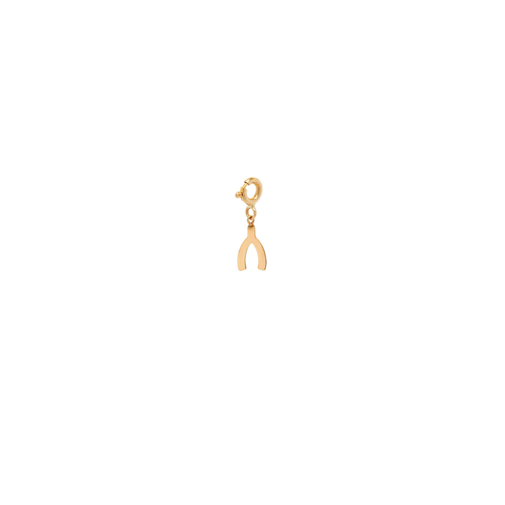 14k midi bitty wishbone charm with spring ring