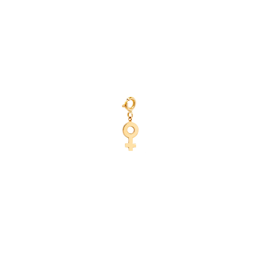 14k midi bitty female symbol charm pendant with spring ring