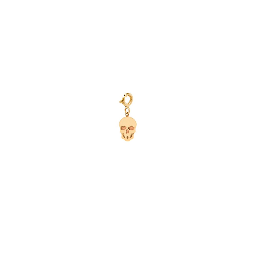 14k midi bitty skull charm pendant on spring ring