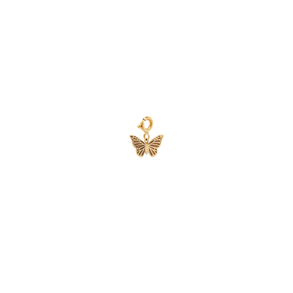14k midi bitty butterfly charm with spring ring