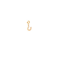 14k single midi bitty pave horseshoe charm