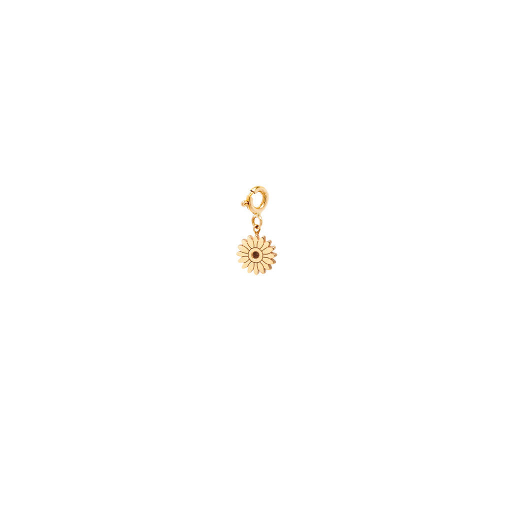 14k midi bitty flower charm pendant on spring ring