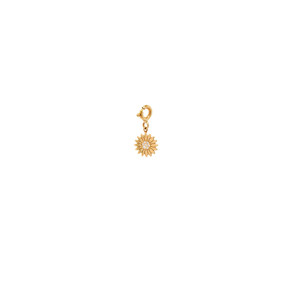 14k midi bitty diamond flower charm pendant on spring ring