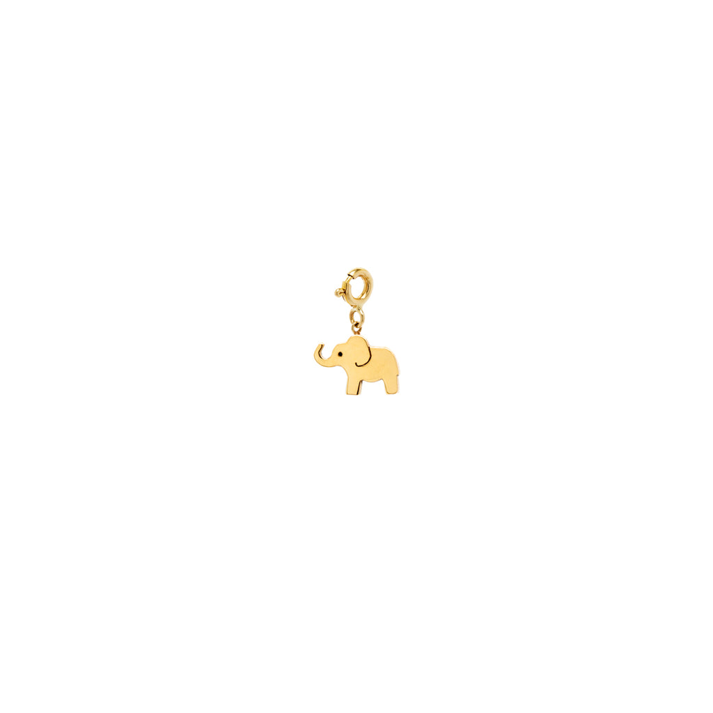 14k midi bitty elephant charm with spring ring
