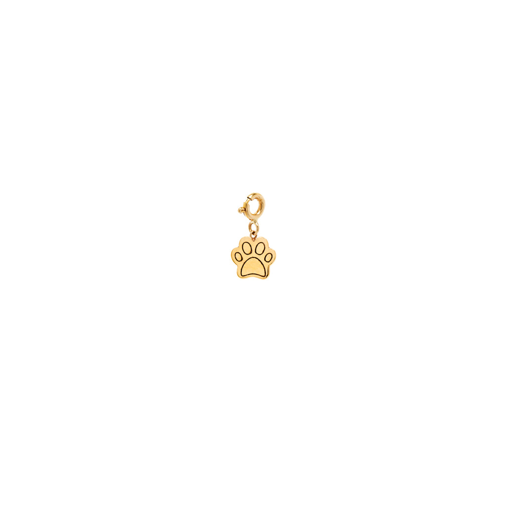 14k midi bitty dog paw charm with spring ring