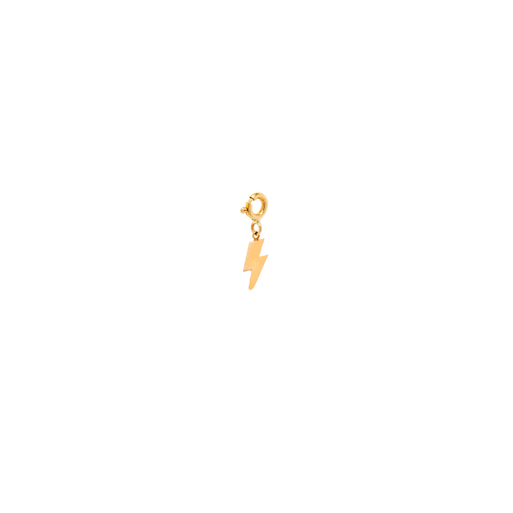14k midi bitty lightning bolt charm pendant with spring ring