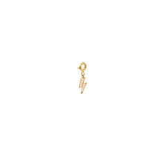 14k midi bitty pave diamond lightning bolt charm pendant with spring ring