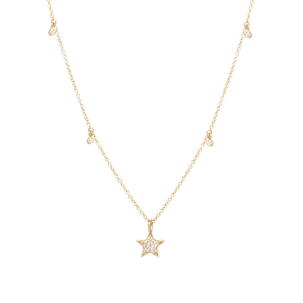 14k midi bitty pavé star pendant with dangling diamonds