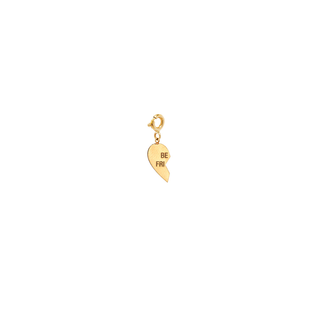 14k midi bitty left split heart BFF charm pendant with spring ring