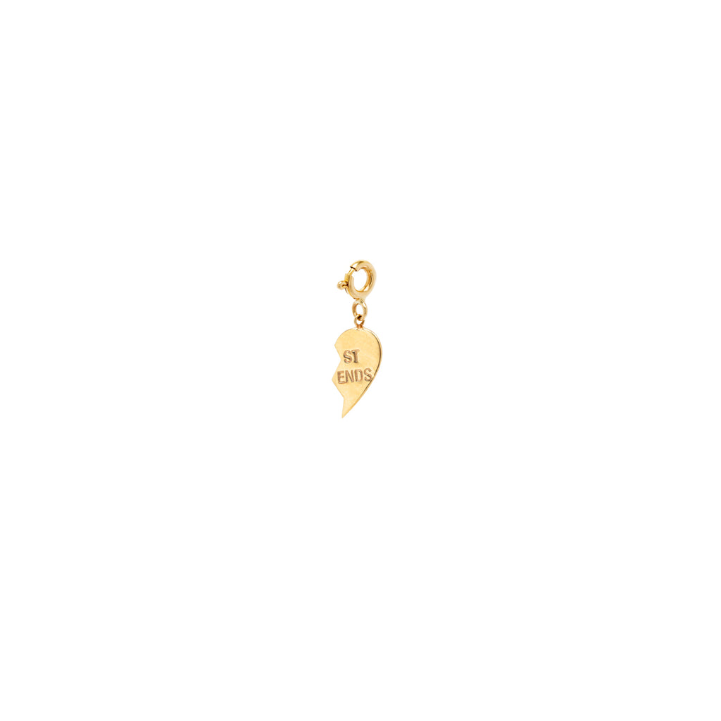14k midi bitty right split heart BFF charm pendant with spring ring