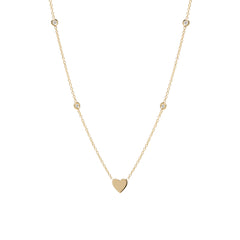14k midi bitty heart floating diamonds necklace
