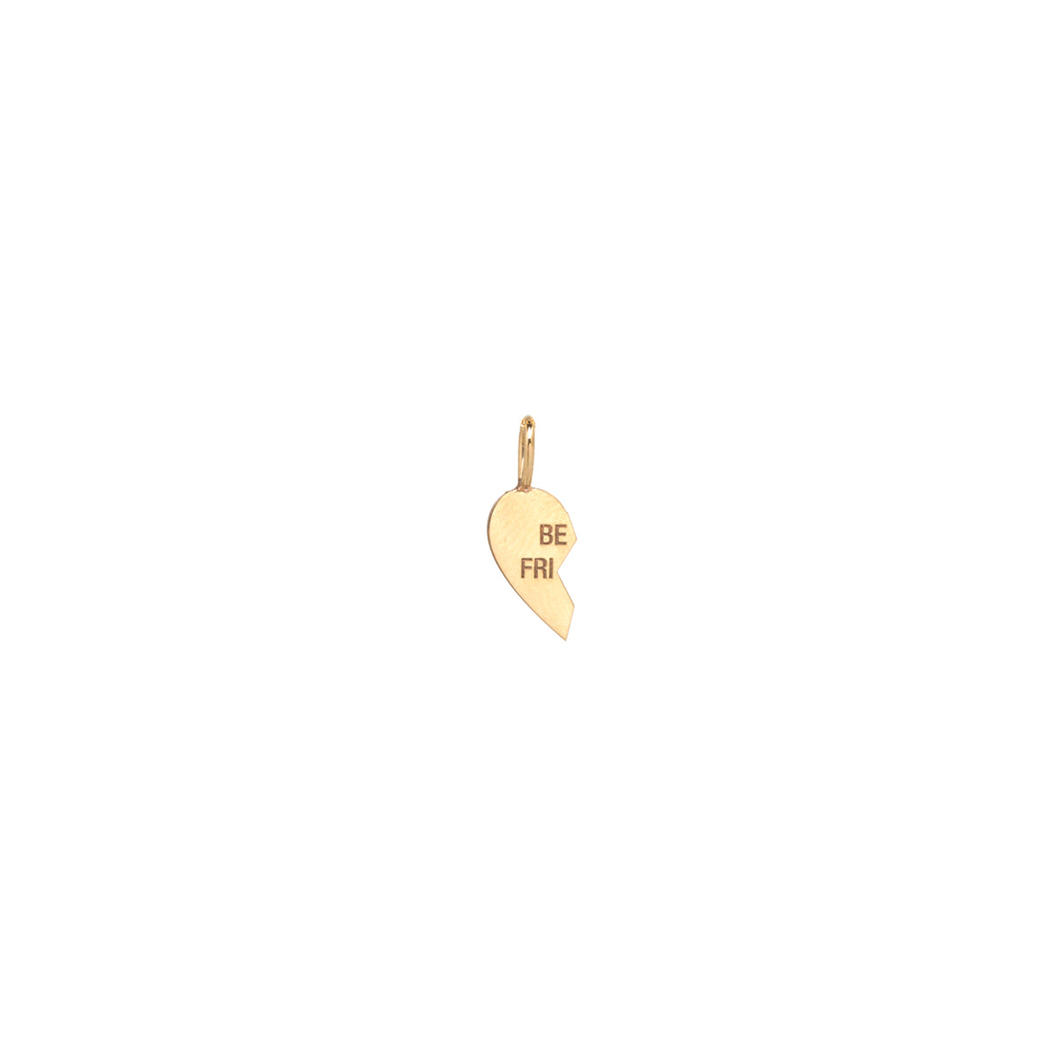 14k single midi bitty left split heart BFF charm