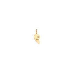 14k single midi bitty left split heart BFF charm pendant