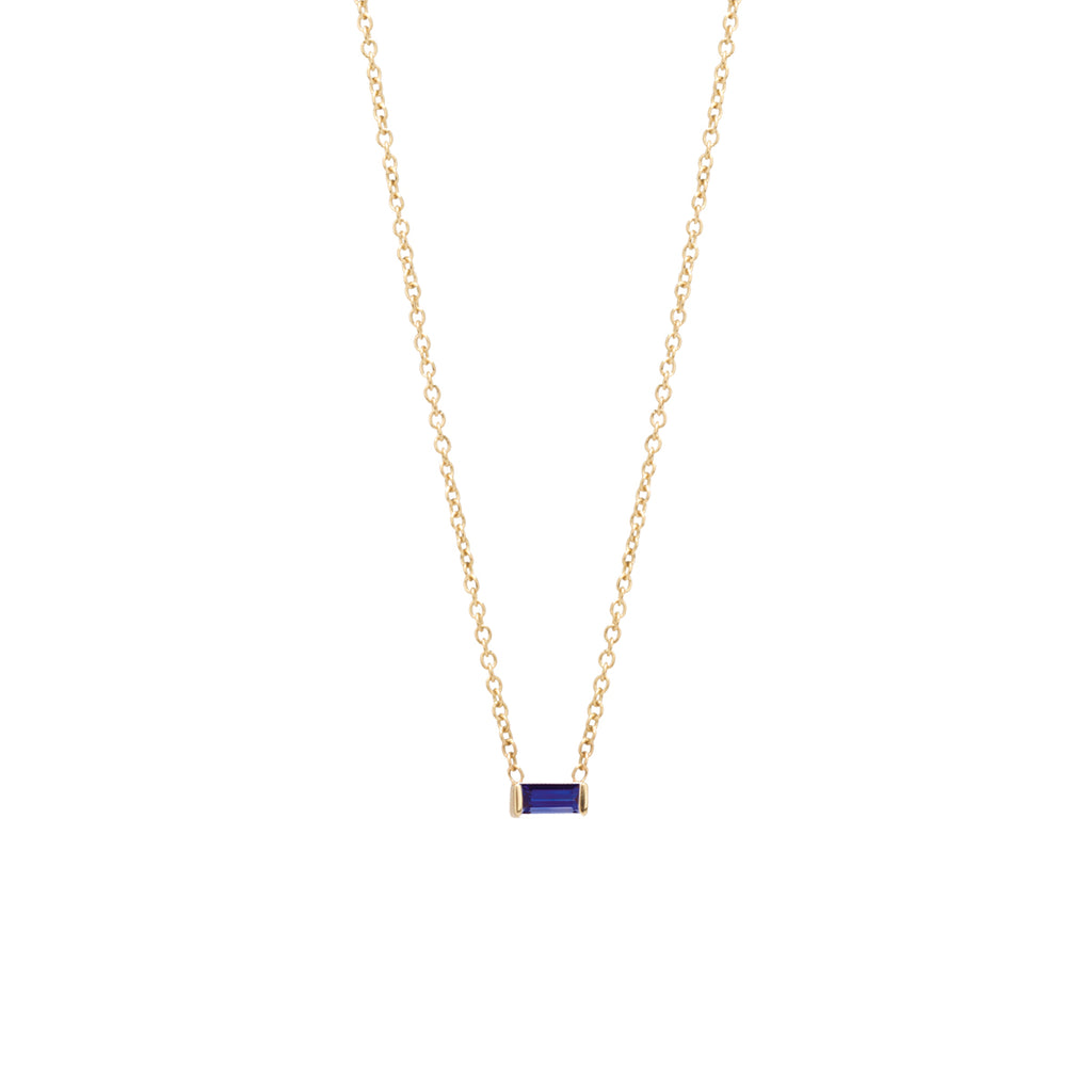 14k blue sapphire baguette necklace | September Birthstone