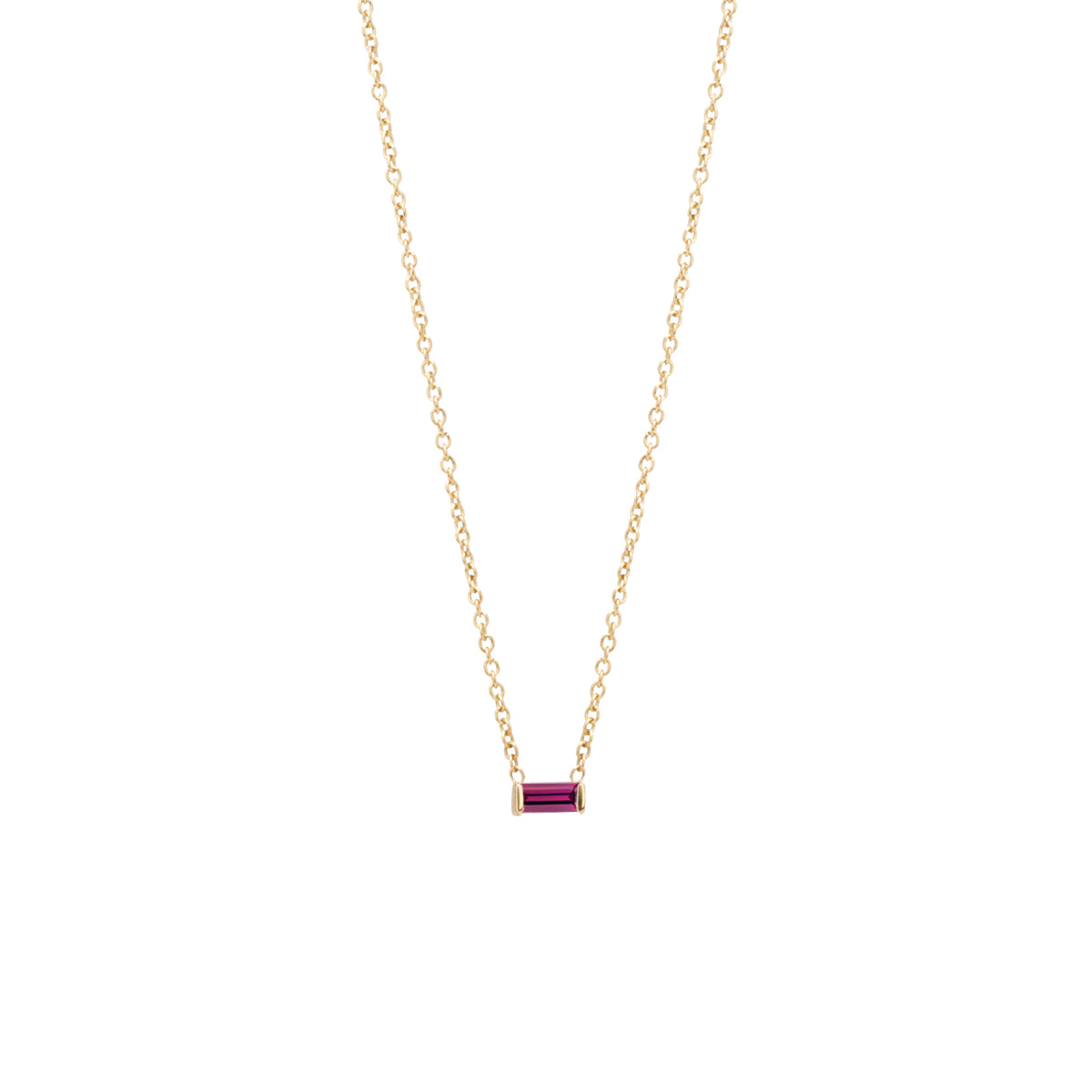 14k garnet baguette necklace | January Birthstone
