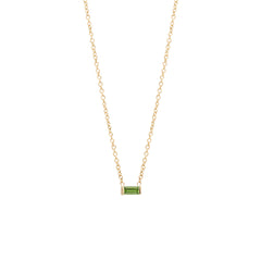 14k peridot baguette necklace | August Birthstone