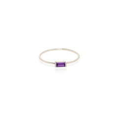 14k medium amethyst baguette ring | February BIRTHSTONE