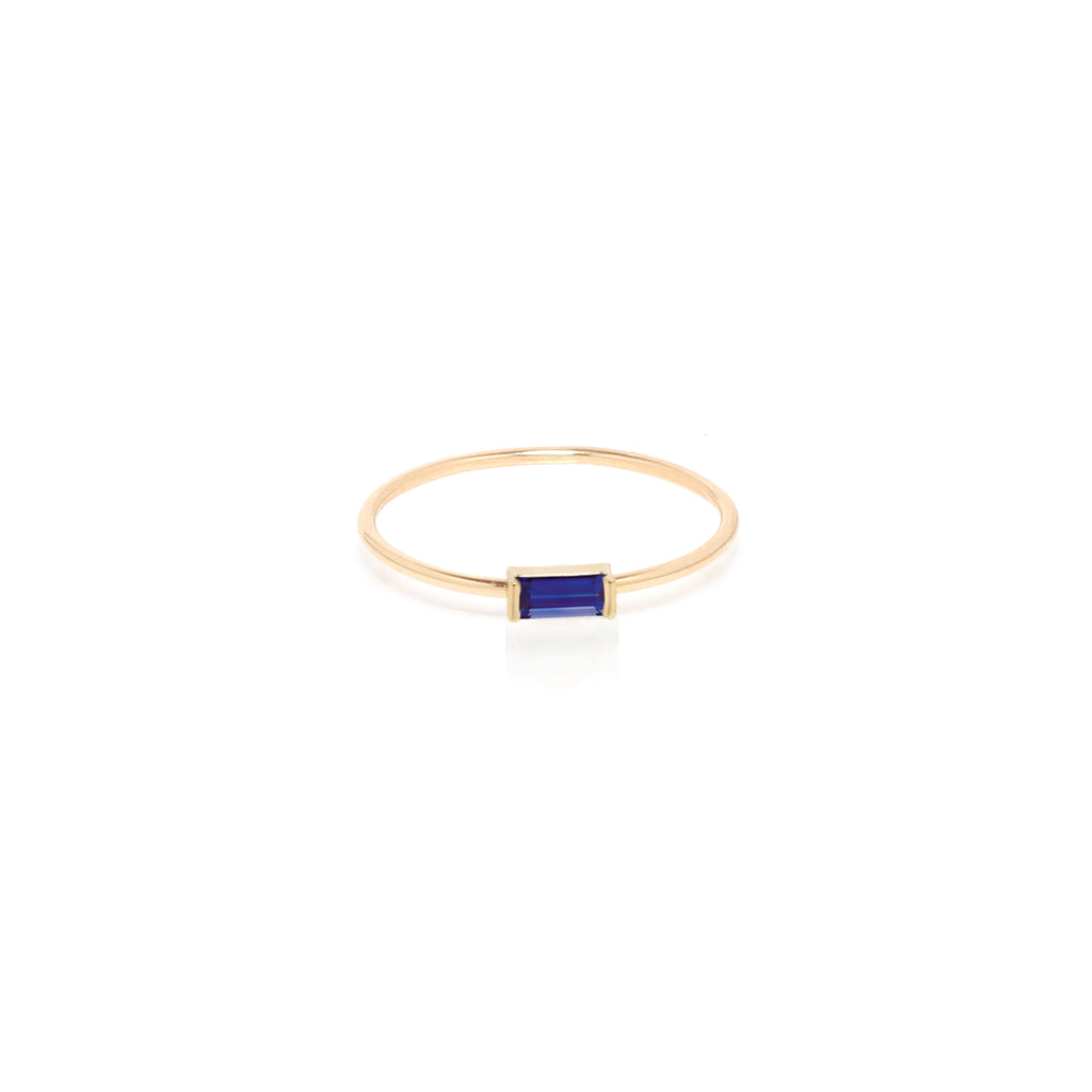 14k medium blue sapphire baguette ring | September BIRTHSTONE