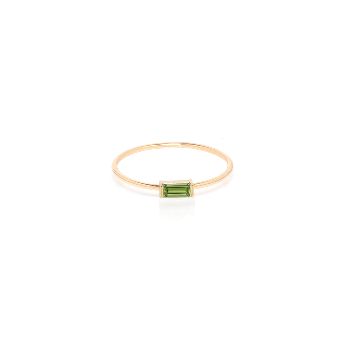 14k medium peridot baguette ring | August birthstone