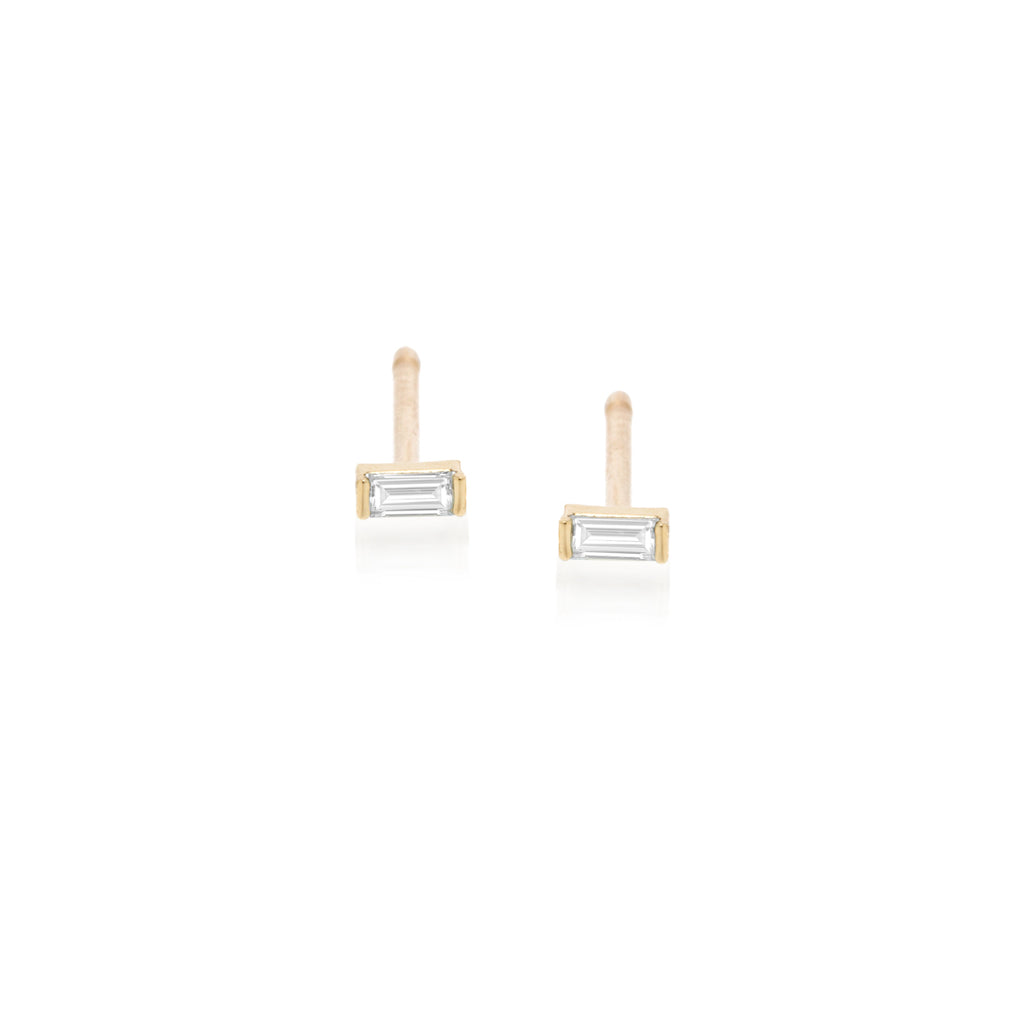 14k diamond baguette studs | April BIRTHSTONE